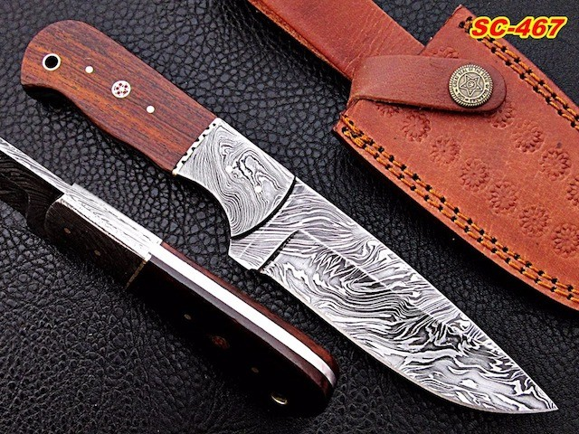 Handmade damascus skinner knife Rosewood Handle