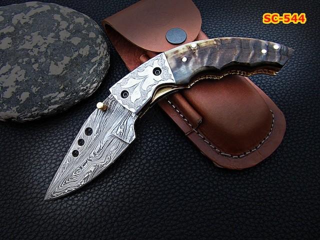 Handmade Damascus steel Folding Knife pocket Ram