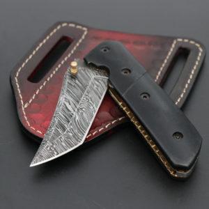Black handle folding knife