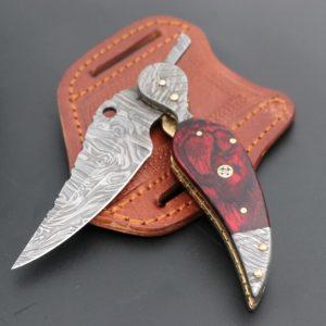 Leaf Damascus folding knife