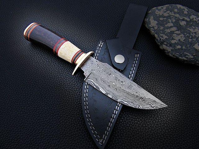 Handmade D2 Steel Bowie knife Bull Horn Bone Brass Bolster