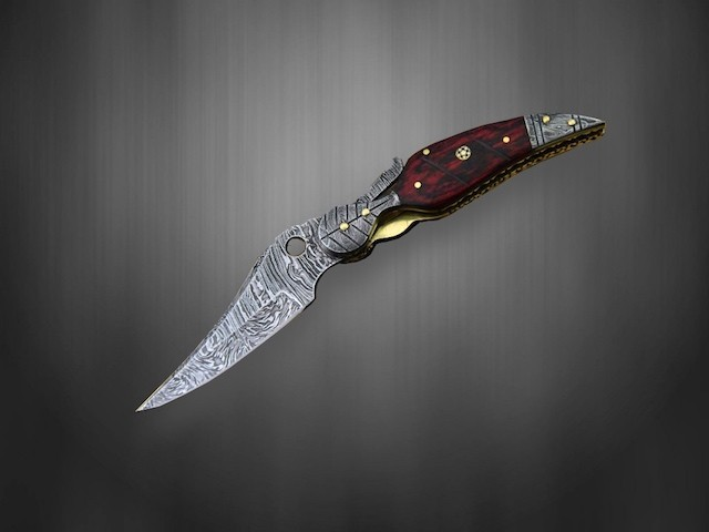 Damascus steel Folding Knife Rosewood handle Red Leaf