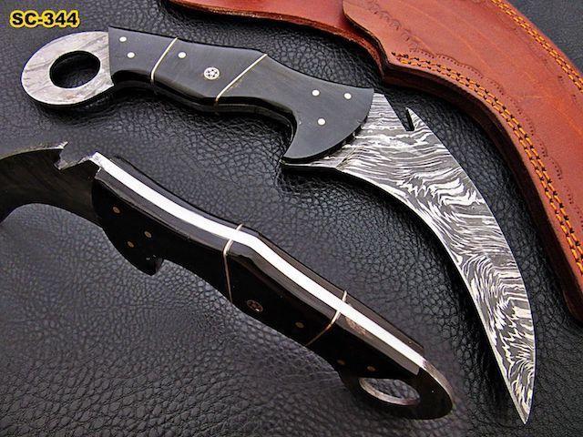 Damascus Knife Krambit Buffalo Horn