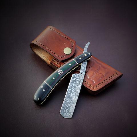 Handmade Damascus steel razor Blade Knife Micarta sheet