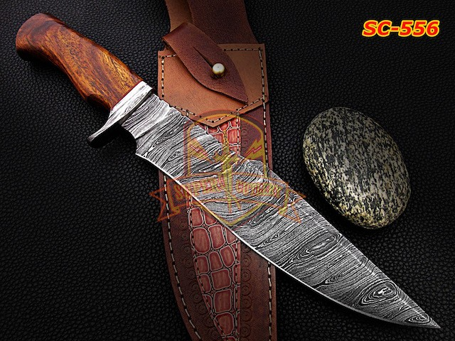 Fixed blade damascus steel Bowie knives