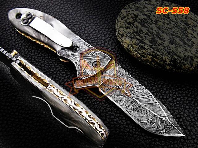 Damascus steel folding knife grey