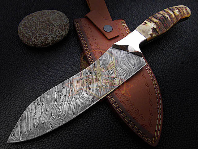 damascus sheep horn chef knives
