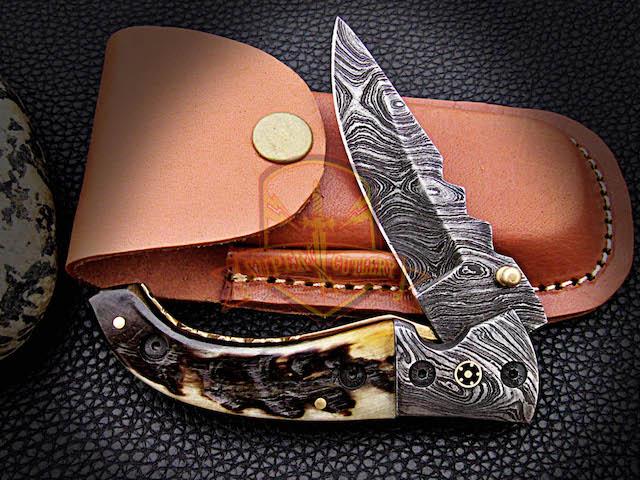 Folding Knife Ram Horn Handle