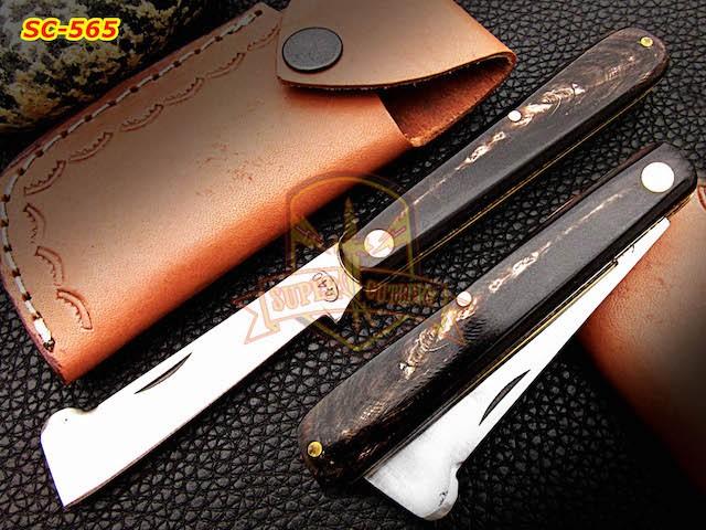 440c pocket knife, bull horn handle knife, bull horn handle knives