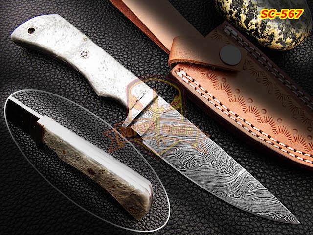 Custom Handmade Damascus steel skinning Knife Gray Resin Sheet Handle