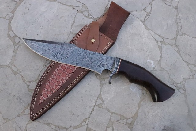Damascus Steel Bowie knife Walnut handle