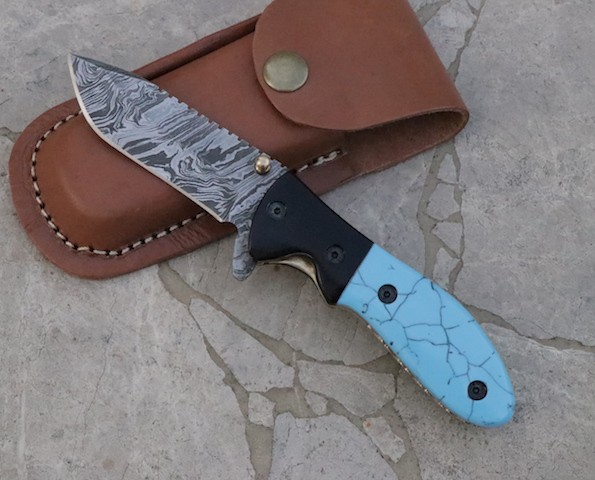 Damascus Steel Folding knives Turquoise