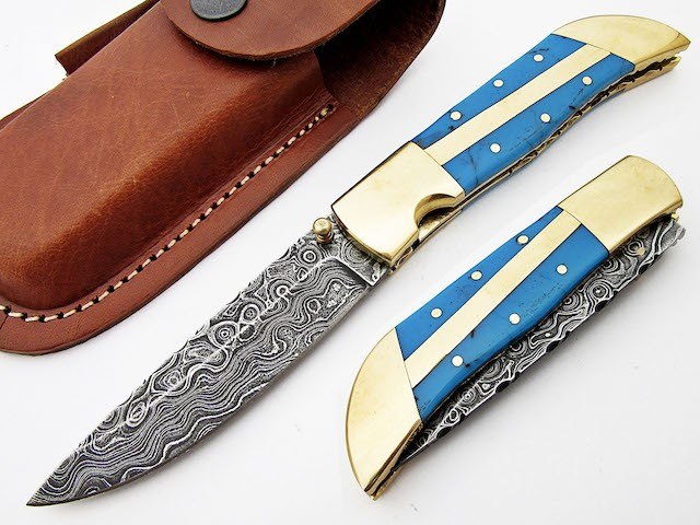 Damascus steel Folding Knife Resin sheet