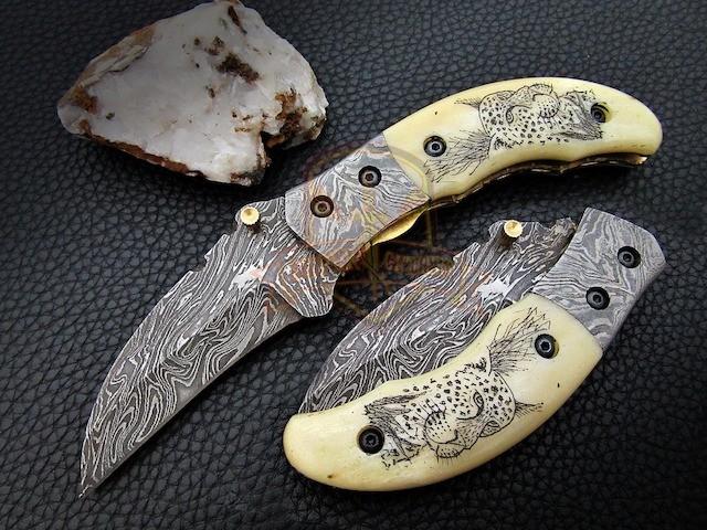 Folding Knife leopard scrimshaw Handle