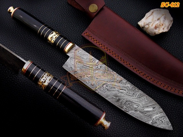 Handmade Damascus Steel Chef knife Bull horn