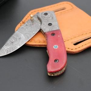 Damascus steel Folding Knife camel bone handle
