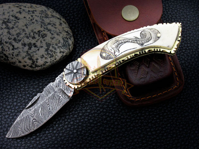 Custom Damascus folding knife Bone hand Scrimshaw Cobra brass engraved pocket knife