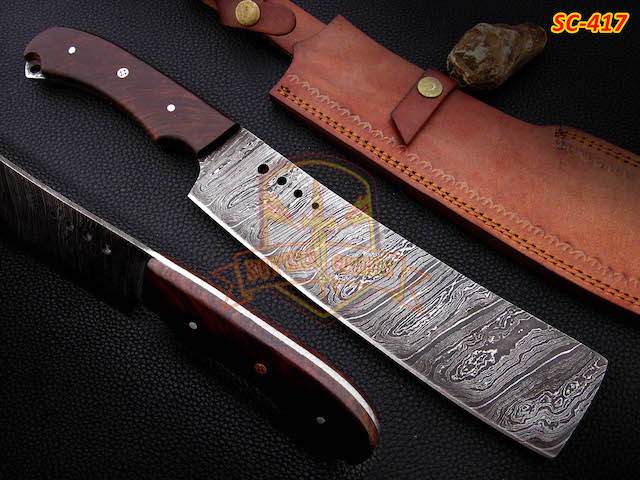 Damascus steel Cleaver Walnut fixed blade meat Choppers