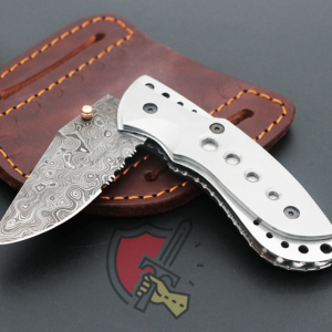 Sand blasted handle folding knife