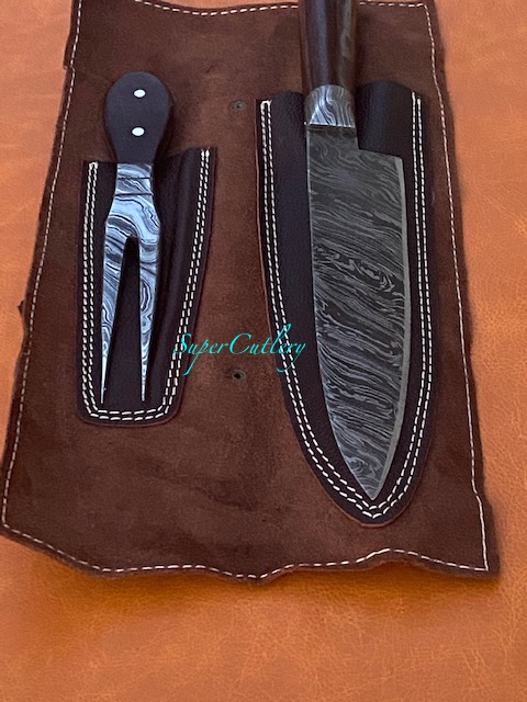 Hand Forged Damascus Steel Chef Knives 3 Pc Set Rosewood Handle