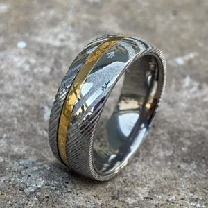 Damascus Rings gold inlay