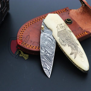 Damascus folding knife fish scrimshaw