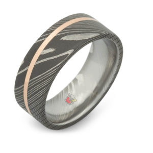 Damascus Steel ring rose gold
