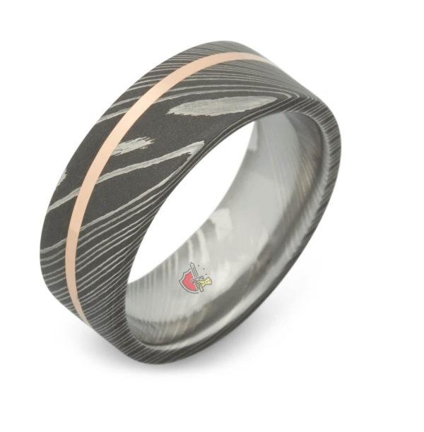 Damascus Steel ring rose gold