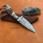 Hand Forged Damascus Steel Stag Skinner Knife